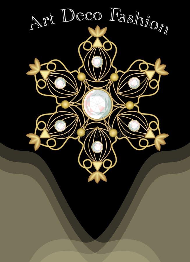 Drogi art deco filigree broszka wewnątrz z diamentami, moda w wiktoriański stylu, starożytniczy złocisty klejnot ilustracji