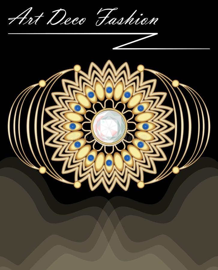 Drogi art deco filigree broszka wewnątrz z karowymi i małymi błękitnymi szafirami, moda w wiktoriański stylu, antykwarski złocist ilustracji