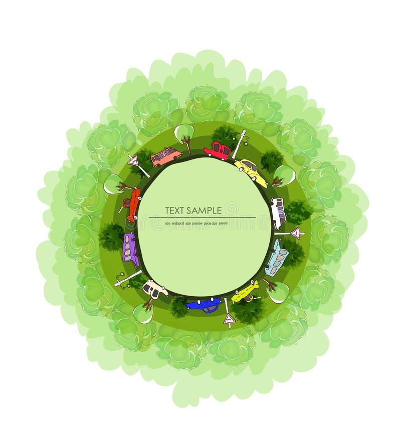 Drogi i samochody Zielona planeta, środowiskowa pojęcie ilustracja, Mała wioska ilustracji