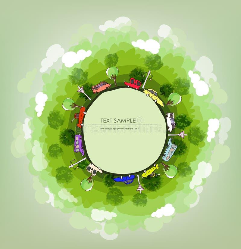 Drogi i samochody Zielona planeta, środowiskowa pojęcie ilustracja, Mała wioska royalty ilustracja