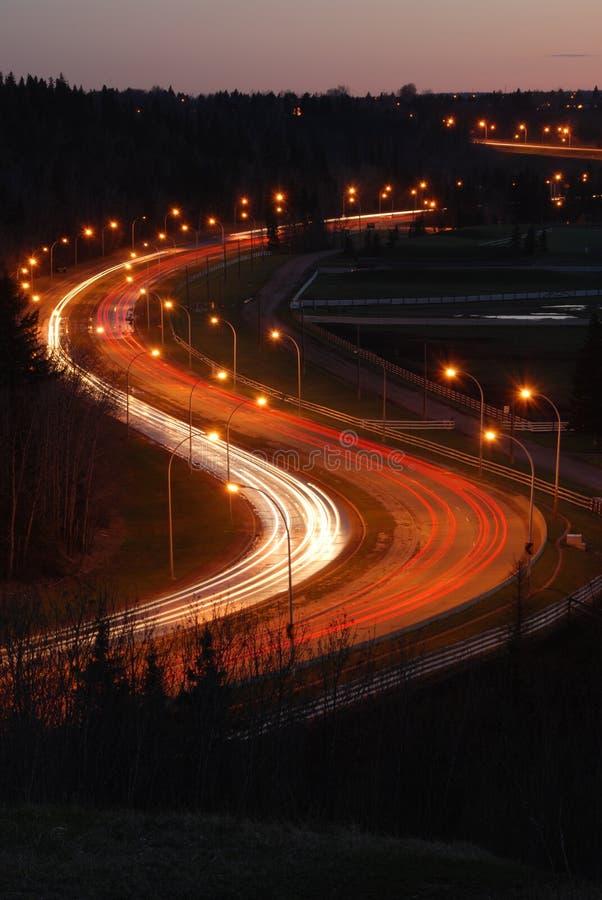 drogi na noc obraz stock
