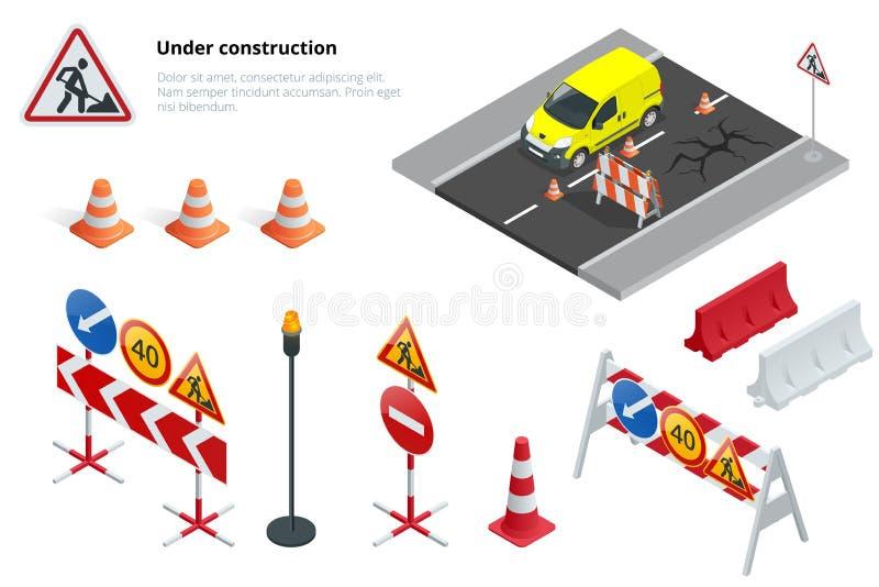 Drogi naprawa, w budowie drogowi znaki Płaska 3d Wektorowa isometric ilustracja ilustracji