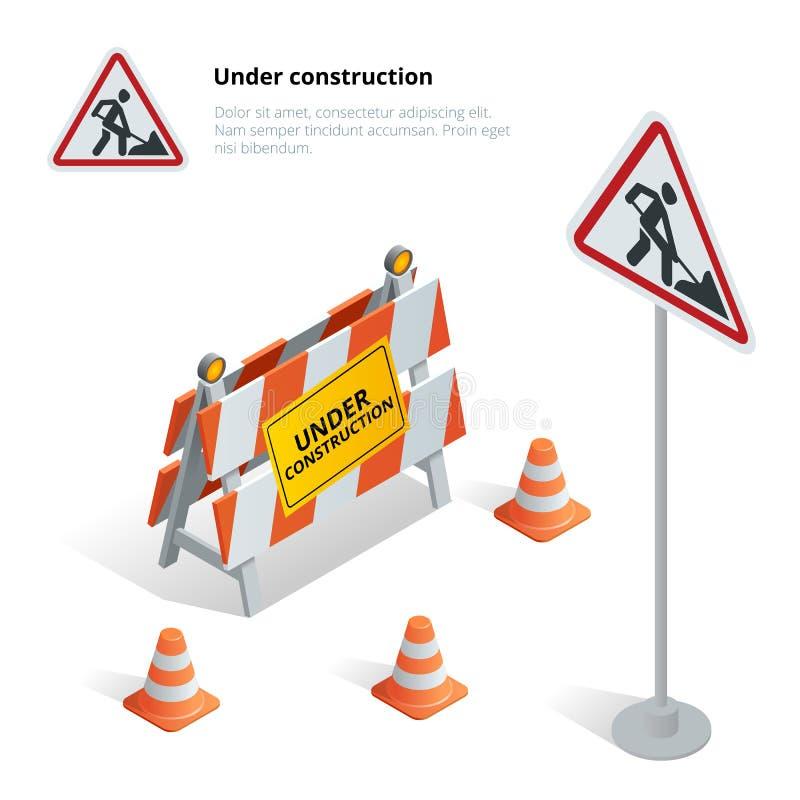 Drogi naprawa, w budowie drogowy znak royalty ilustracja