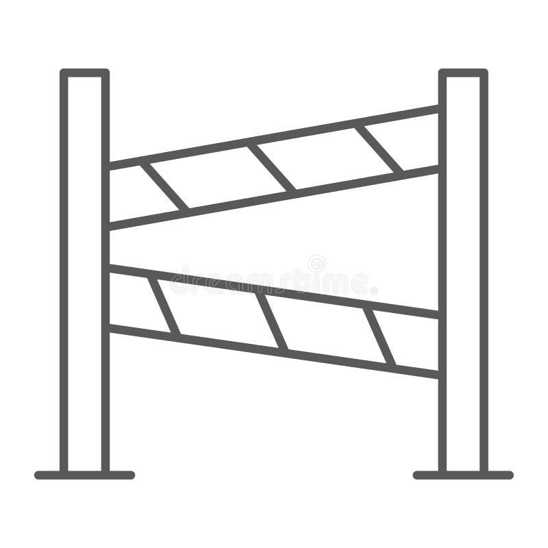 Drogi ogrodzenia cienka kreskowa ikona, budowa i granica, bariera znak, wektorowe grafika, liniowy wzór na bielu ilustracja wektor