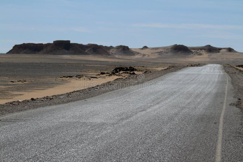 Drogi przez Sahara w Egipt zdjęcia royalty free