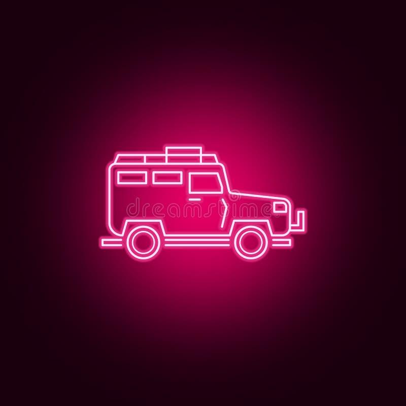 Drogi samochodowa neonowa ikona Elementy transportu set Prosta ikona dla stron internetowych, sie? projekt, mobilny app, ewidency ilustracja wektor