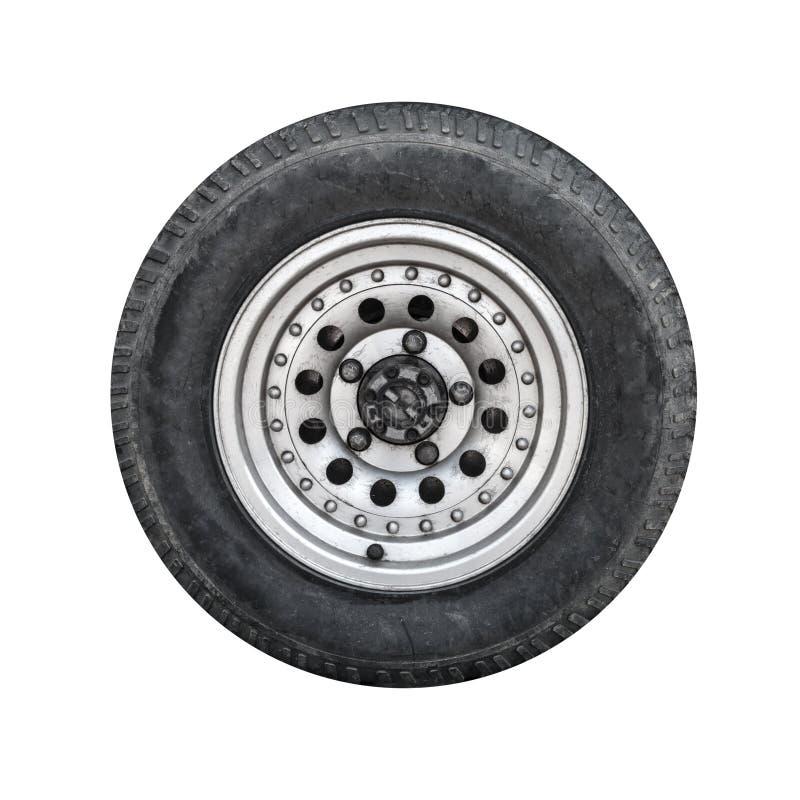 Drogi samochodowy koło, frontowy widok odizolowywający na bielu zdjęcie royalty free