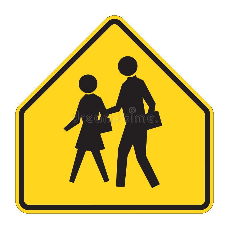 drogi szkoły znaku ostrzeżenie ilustracja wektor