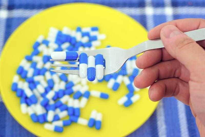 Drogmissbruk för mycket förgiftning för preventivpillerrusrecept royaltyfria foton