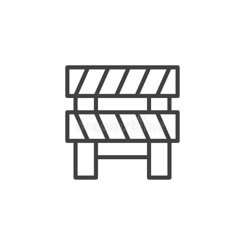 Drogowa bariera konturu ikona royalty ilustracja