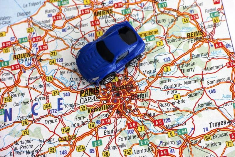 Drogowa mapa Francja z samochodem obraz royalty free