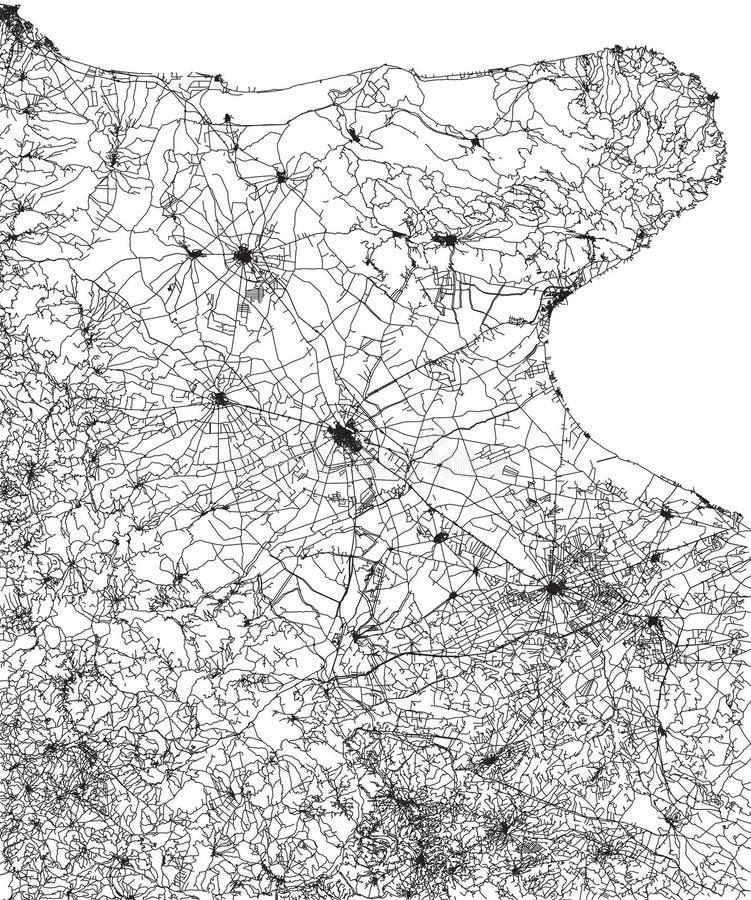 Drogowa mapa Gargano, Puglia, Włochy Miasta i drogi Adriatycki wybrzeże ilustracji