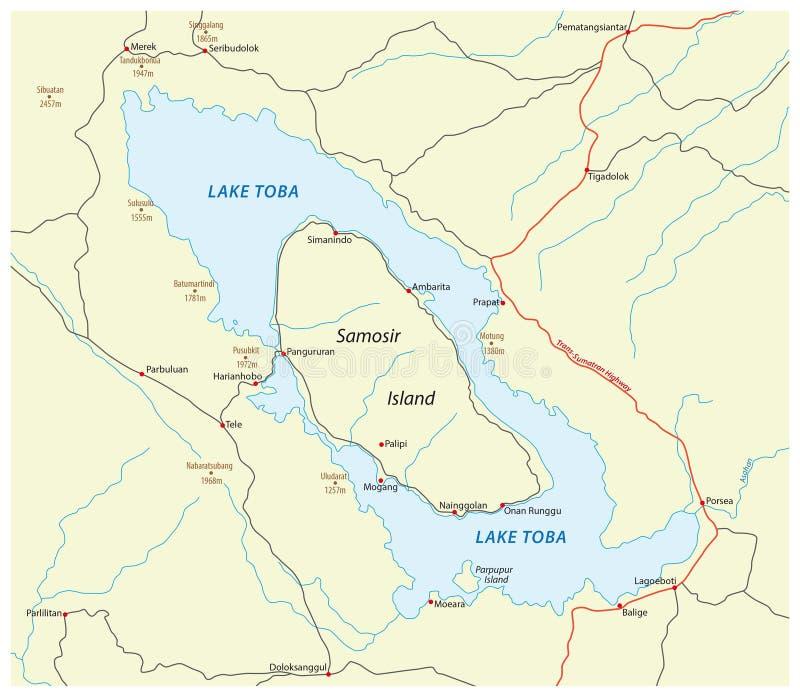 Drogowa mapa Indonezyjski wulkan jeziorny Toba na Sumatra ilustracja wektor