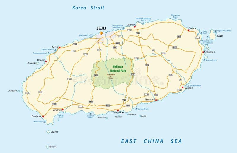 Drogowa mapa Jeju, Południowy Korea ilustracja wektor
