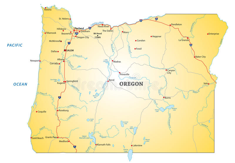Drogowa mapa Oregon royalty ilustracja