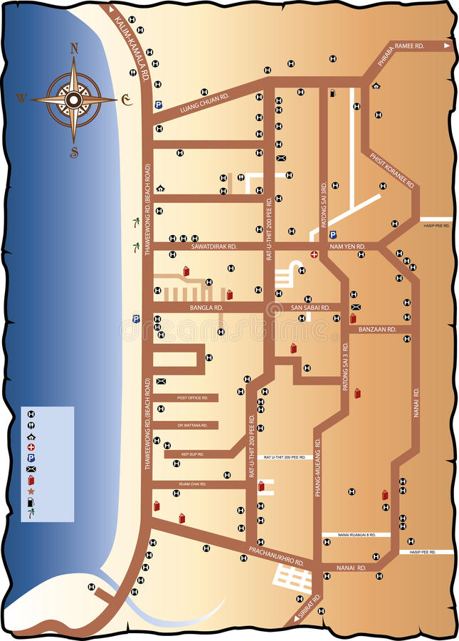 Drogowa mapa Phuket ilustracja wektor
