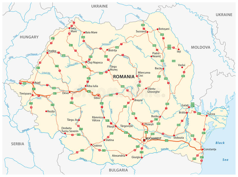 Drogowa mapa Wschodni - europejski stan Rumunia ilustracja wektor