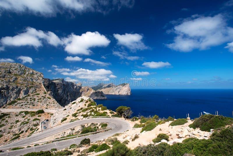 Drogowa pobliska przylądka Formentor wyspa Hiszpania fotografia stock