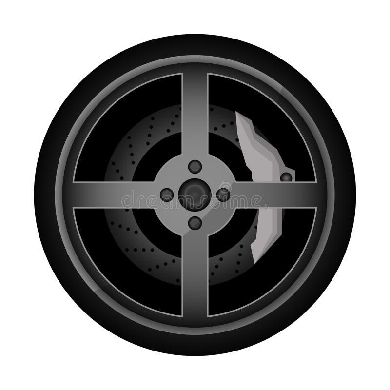 Drogowa samochodowa obręcz ikona ilustracja wektor