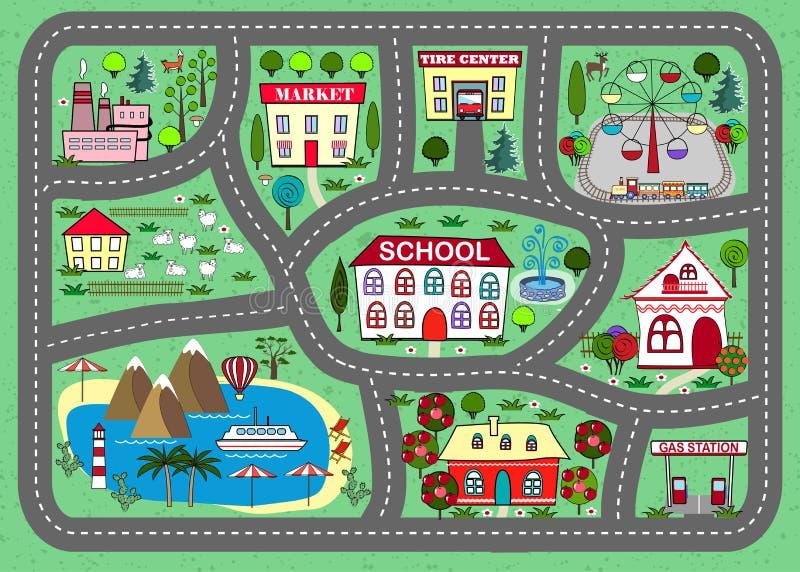 Drogowa sztuki mata dla dzieci aktywność i rozrywka ilustracji