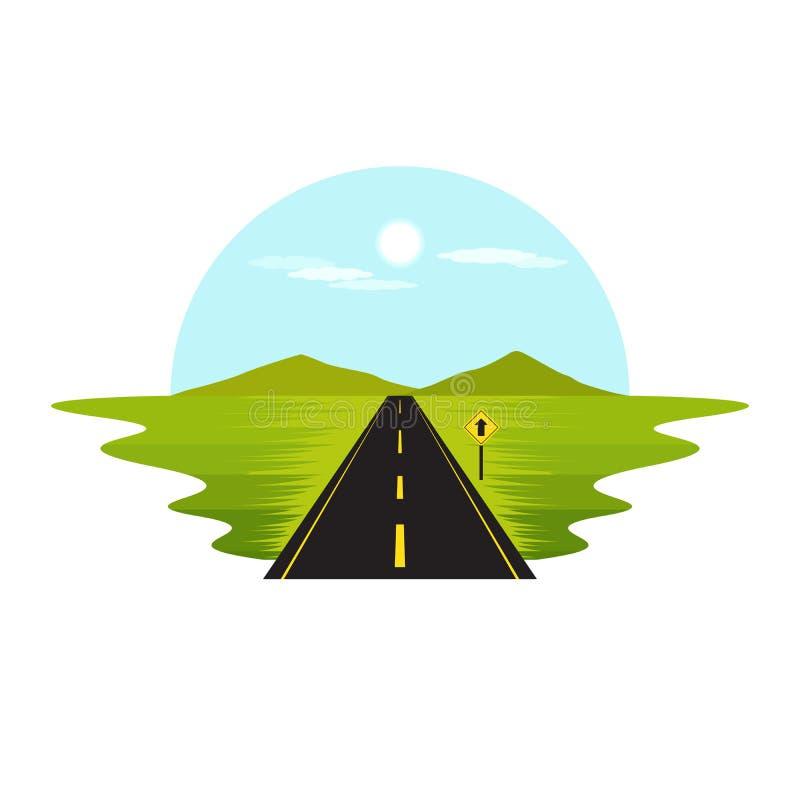 Drogowa trasa na sposobu znaka i dnia krajobrazie royalty ilustracja