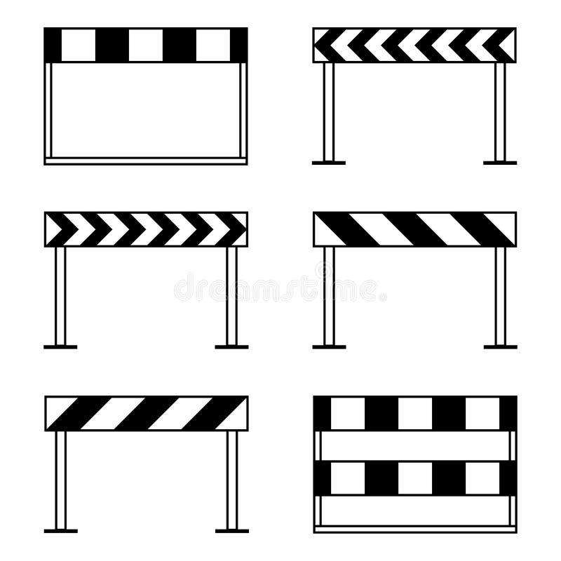 Drogowe bariery, w budowie ikona set, czernią odosobnionego na białym tle, wektorowa ilustracja ilustracji