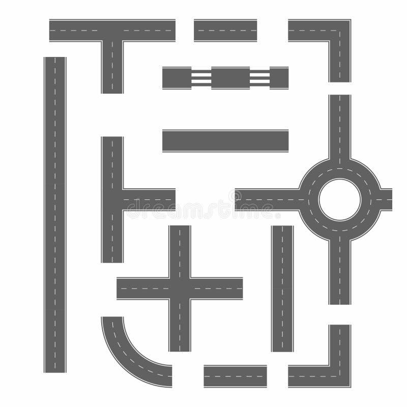 Drogowe sekcje w różnej formie Droga konstruktor ilustracja wektor