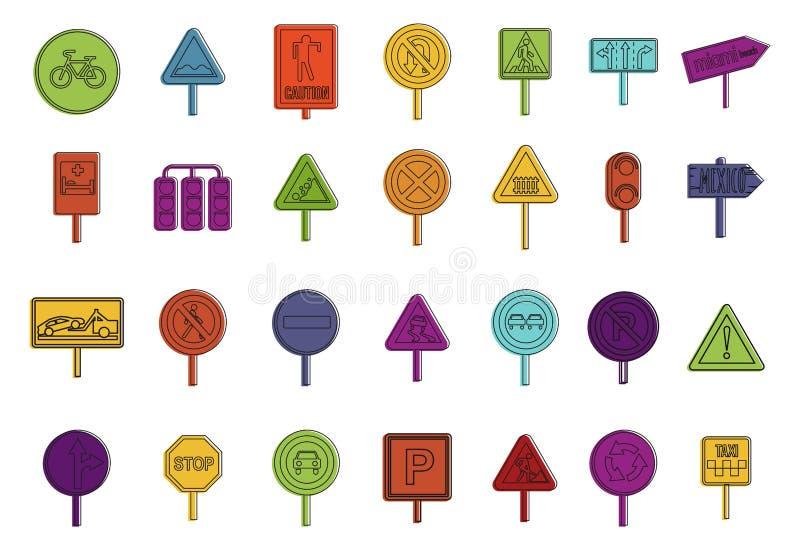 Drogowego znaka ikony set, koloru konturu styl royalty ilustracja