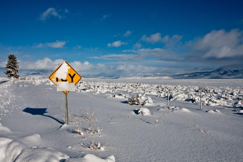 drogowego znaka zima fotografia royalty free