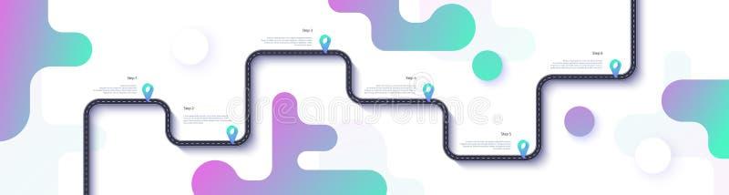 Drogowej mapy i podróży trasy infographics szablon Wijącej drogi linii czasu ilustracja Płaski wektor 10 eps royalty ilustracja