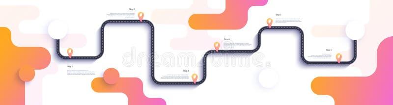 Drogowej mapy i podróży trasy infographics szablon Wijącej drogi linii czasu ilustracja Płaski wektor 10 eps ilustracja wektor