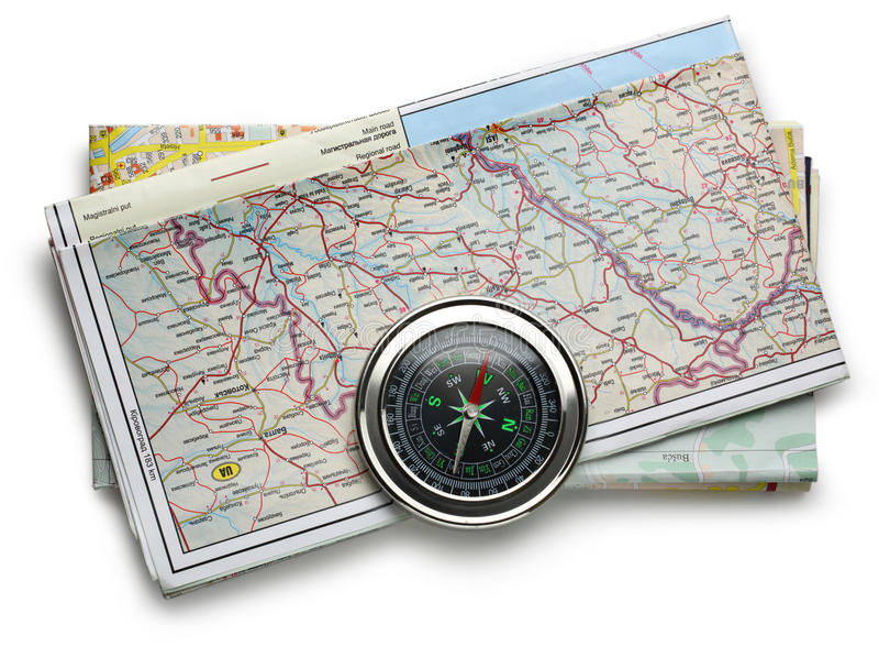 Drogowej mapy kompas i plan zdjęcia stock