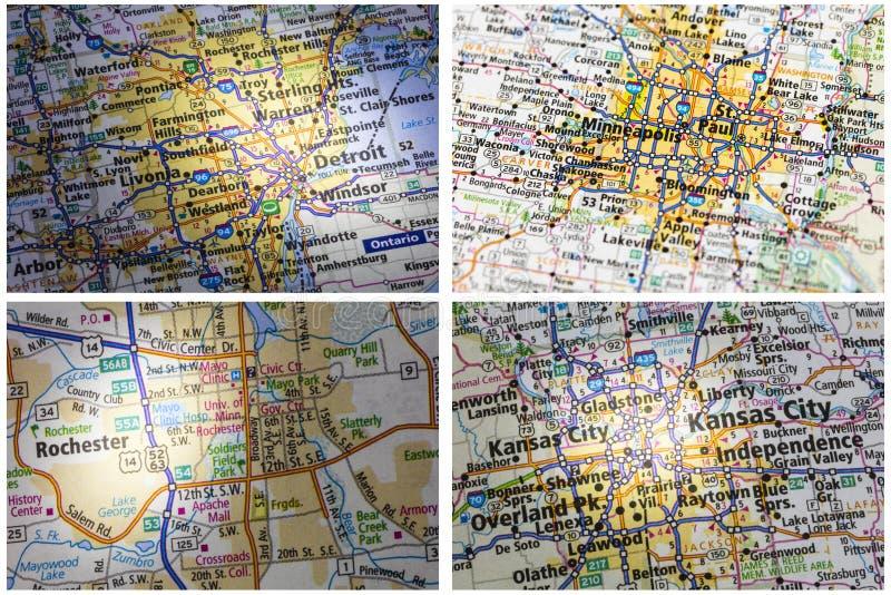 Drogowej mapy Rochester Minneapolis kolaż zdjęcie royalty free