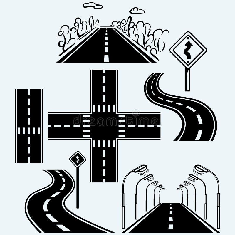 Drogowi symbole z wijącymi autostradami royalty ilustracja