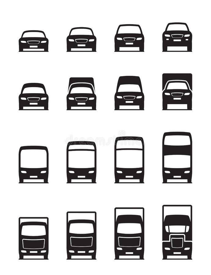 Drogowi transportów pojazdy w przodzie ilustracja wektor