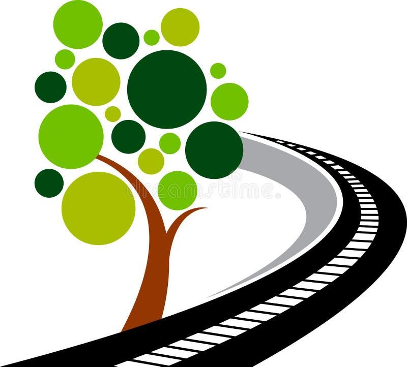 Drogowy drzewny logo ilustracji