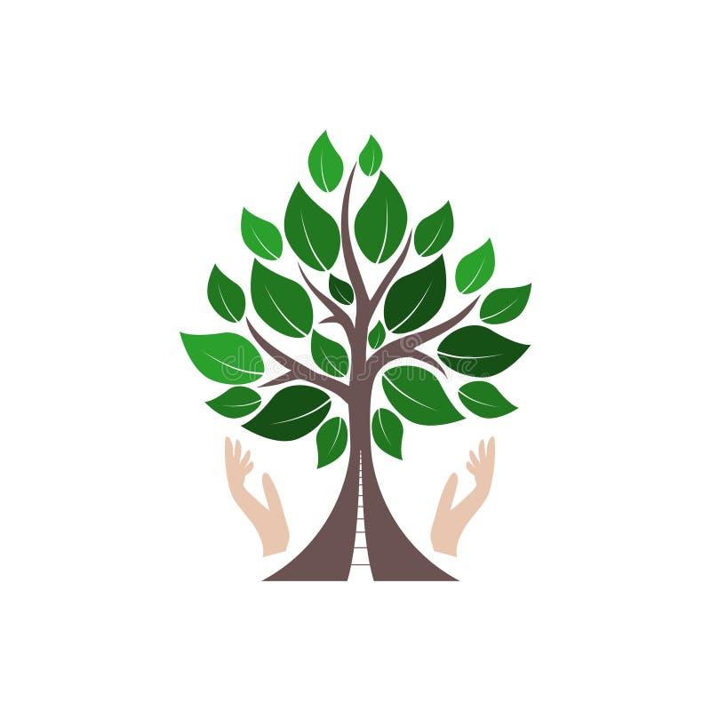Drogowy drzewny logo lub ikona ilustracja wektor