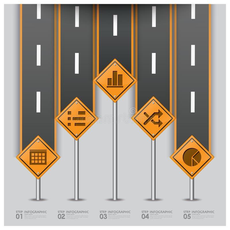 Drogowy I Uliczny ruchu drogowego znaka biznes Infographic ilustracja wektor