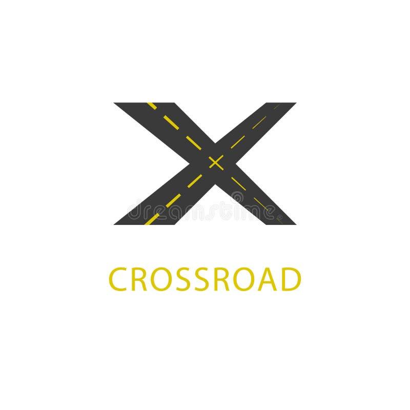 Drogowy logo mockup rozdroże, przewieziona ikona, listu X nawigacji emblemat royalty ilustracja