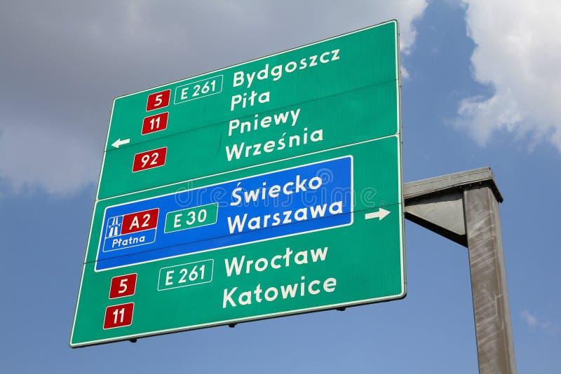 Drogowy podpisuje wewnątrz Polska zdjęcia royalty free