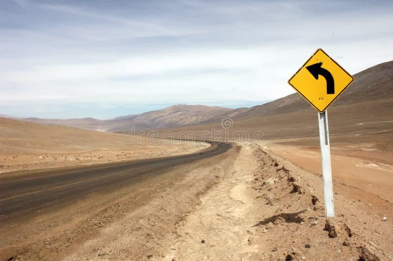 Drogowy podpisuje wewnątrz pustynię obrazy royalty free