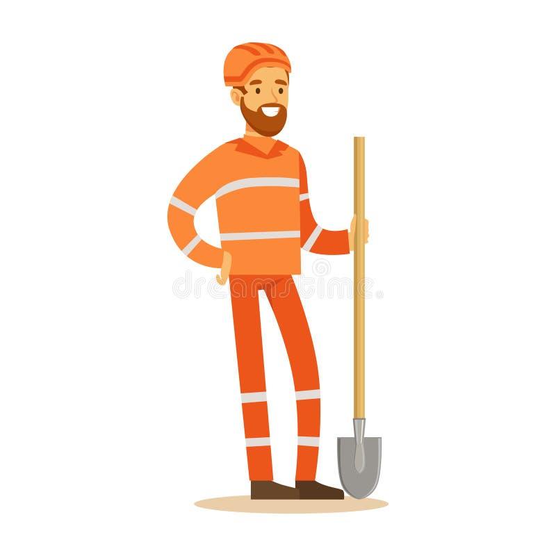 Drogowy pracownik W pomarańcze mundurze Z łopatą, część Roadworks I budów serie Wektorowe ilustracje, ilustracji