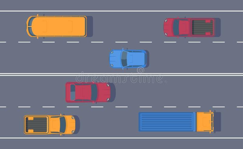 Drogowy ruch drogowy Wolny przepływ maszyny na pas ruchu drodze Różny samochód na autostradzie royalty ilustracja