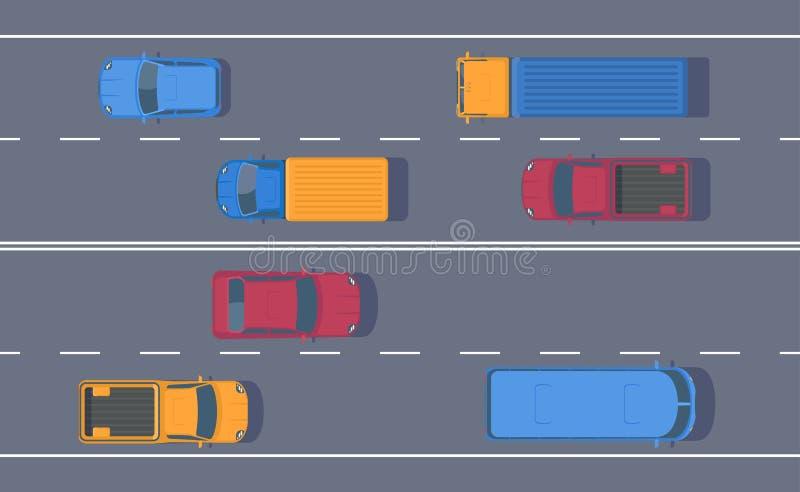 Drogowy ruch drogowy Wolny przepływ maszyny na pas ruchu drodze Różny samochód na autostradzie ilustracji