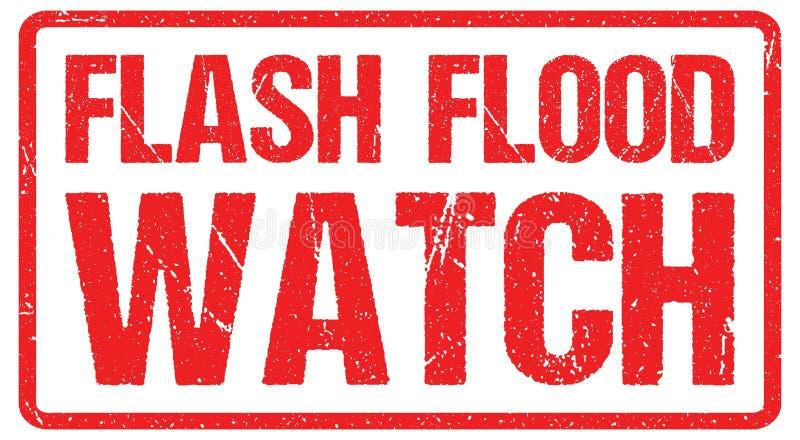 Drogowy znak ostrzegawczy przeciw burzowemu niebu z słowami Błyskowy zalany obszar, powodzi ostrzeżenie royalty ilustracja
