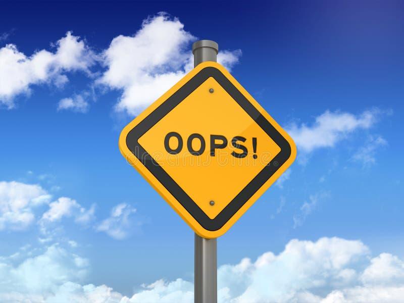 Drogowy znak z OOPS! Słowo na niebieskim niebie ilustracji