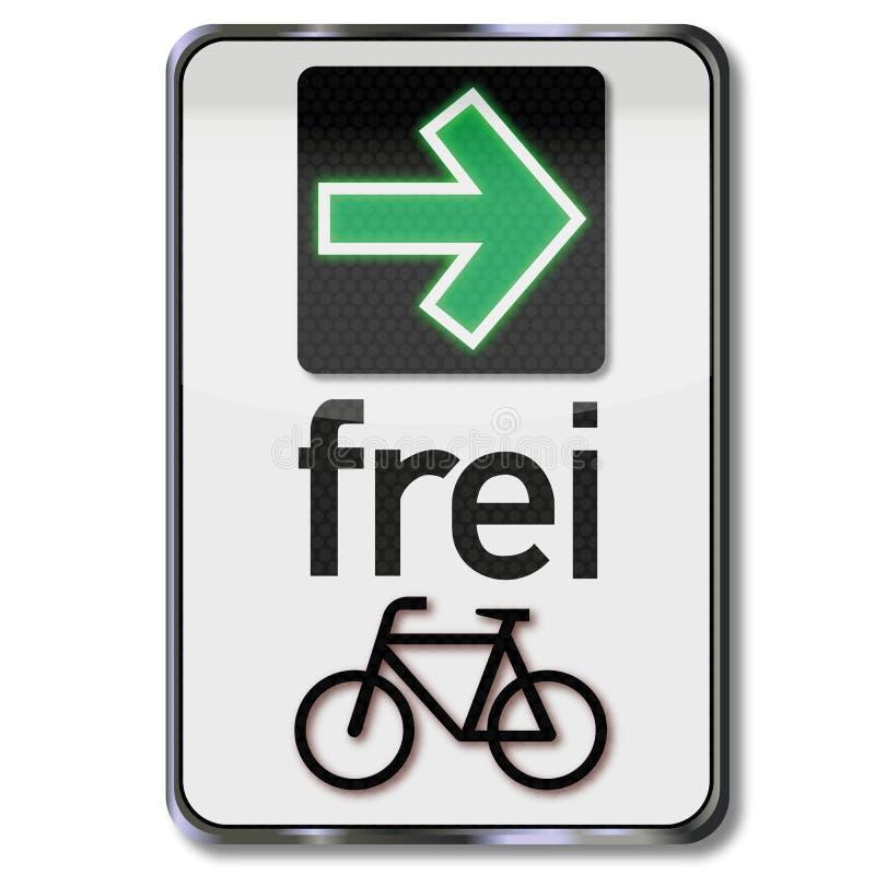 Drogowy znak z zieloną strzałą i pozwolenie obracać dobrze dla cyklistów ilustracji