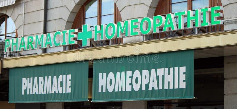 Drograria homeopaticamente (francesa) fotografia de stock royalty free