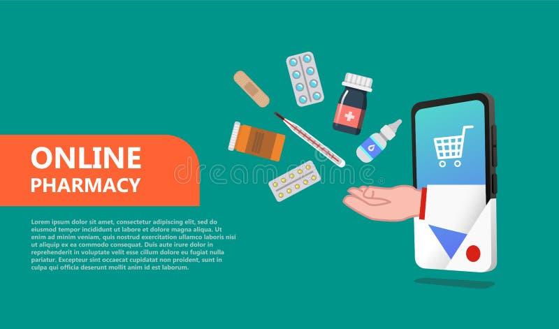 Droguería en línea Concepto de la farmacia en el estilo plano aislado libre illustration