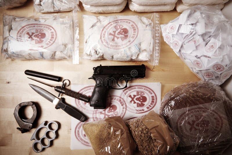 Drogues contre la justice images libres de droits
